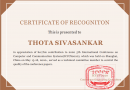 'Certificate of Recognition' to Dr. Thota Sivasankar